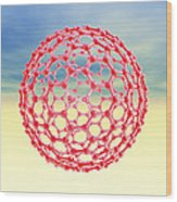 Fullerene Molecule, Computer Artwork Wood Print by Laguna Design