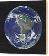 Fully Lit Earth Centered On South Wood Print by Stocktrek Images