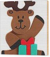 Fun Reindeer Sitting Wood Print