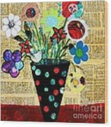 Funky Flowers Wood Print