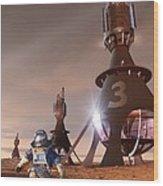 Future Mars Exploration, Artwork Wood Print