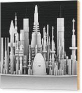 Futuristic Cityscape, Artwork Wood Print