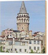Galata Tower In Istanbul Wood Print
