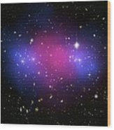 Galaxy Cluster Collision, X-ray Image Wood Print by Nasaesacxcstscim. Bradac And S. Allen