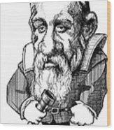 Galileo Galilei, Caricature Wood Print