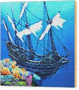 Galleon On The Cliff Filtered Wood Print