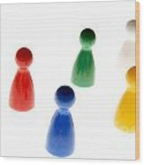 Game Pieces In Various Colours Wood Print by Bernard Jaubert