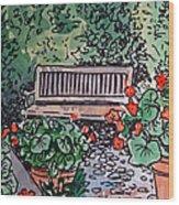 Garden Bench Sketchbook Project Down My Street Wood Print by Irina Sztukowski