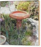 Garden Birdbath Wood Print