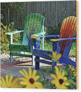Garden Chairs Wood Print