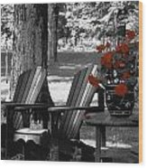Garden Chairs With Red Flowers In A Pot Wood Print