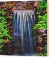 Garden Falls Fractalized Wood Print