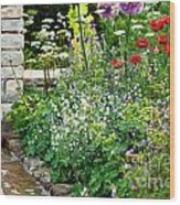 Garden Flowers With Stream Wood Print