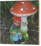 Garden Gnome Under Mushroom Wood Print