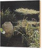 Garden Urns In A Garden Wood Print