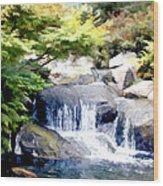 Garden Waterfall With Koi Pond Wood Print