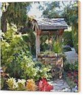 Garden Wishing Well Wood Print