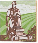 Gardener Landscaper Riding Lawn Mower Retro Wood Print