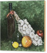 Garlic And The Apples Wood Print