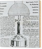 Gas Lamp Ad Wood Print