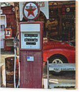 Gas Pump - Texaco Gas Globe Wood Print
