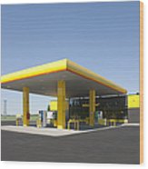 Gas Station Wood Print by Jaak Nilson