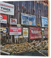 Gas Station Signs Wood Print