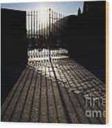 Gate In Backlight Wood Print