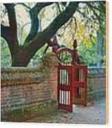 Gate In Brick Wall Wood Print