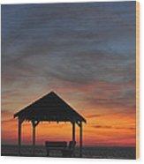 Gazebo At Sunset Seaside Park, Nj Wood Print