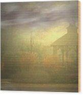 Gazebo Rain Wood Print
