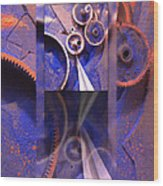 Gear Composition Wood Print by Ron Schwager