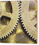 Gears From Inside A Wind-up Clock Wood Print by John Short