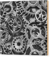 Gears Of Time Black And White Wood Print