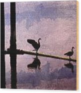 Geese At Dawn Wood Print