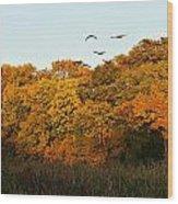 Geese Flight Wood Print