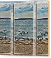 Geese Point Landing Triptych Wood Print