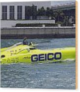 Geico Race Boat Wood Print