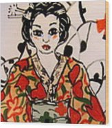 Geisha In Training Wood Print by Patricia Lazar