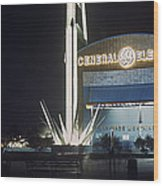 General Electric Pavilion At Night Wood Print