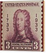 General James Oglethorpe Postage Stamp Wood Print