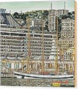 Genova Cruising And Sailing Ships And Buildings Landscape Wood Print