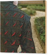 Gentleman In 16th Century Clothing On Garden Path Wood Print