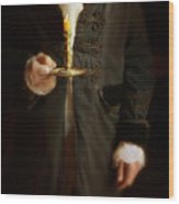 Gentleman In Vintage Clothing Holding A Candlestick Wood Print