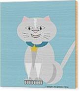 Geo Smiley Cat Wood Print