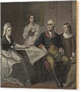 George And Martha Washington Sitting Wood Print by Everett