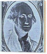 George Washington In Negative Cyan Wood Print