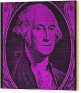George Washington In Purple Wood Print