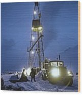 Geothermal Power Station Drilling Wood Print