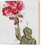 Geranium Sans Pot Wood Print